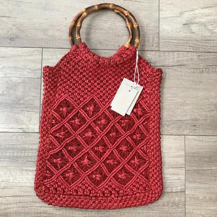 Macramé bamboo bag Red- Dragon Bags