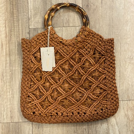 Macramé bamboo bag Tan - Dragon Bags