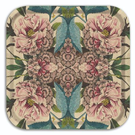 Plateau carré FLORA COLLECTION PEONIES BY PATCH NYC.